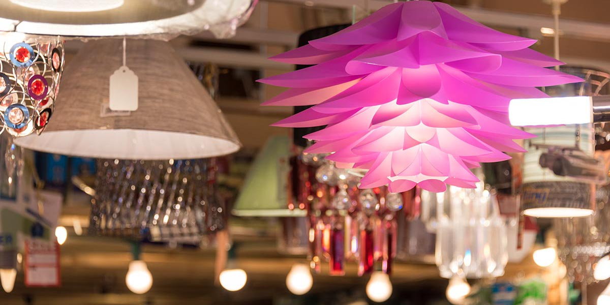 Variety of lamps and lampshades