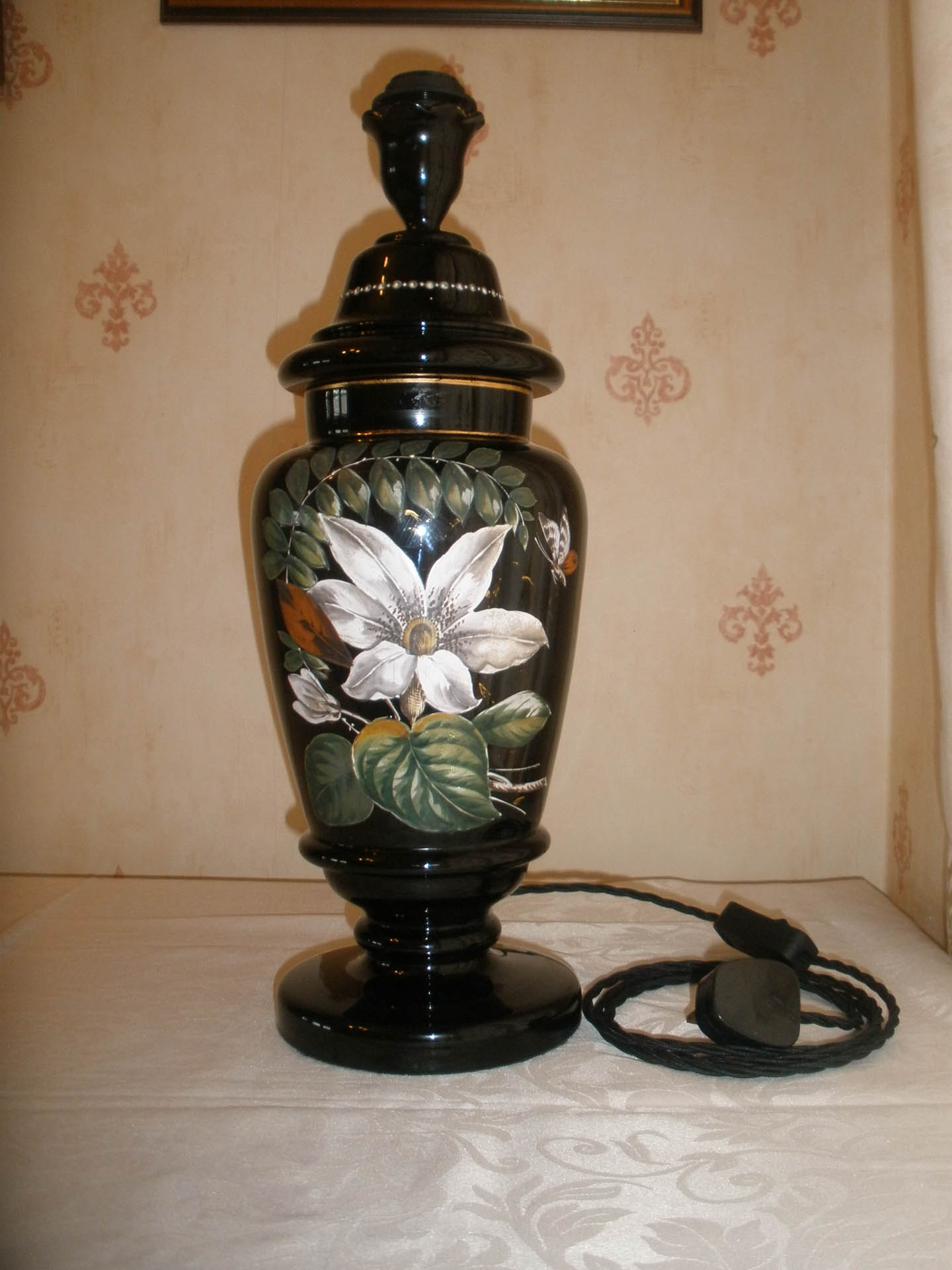 Large Black, Hand -painted Lamp